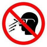 Το πετώντας σημάδι συμβόλων γυαλιών ασφάλειας ένδυσης συντριμμιών κινδύνου τραυματισμών, διανυσματική απεικόνιση, απομονώνει στην διανυσματική απεικόνιση