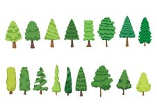 Το πεύκο δέντρων που η καθορισμένη συλλογή που απομονώνεται είναι φρέσκια είναι πράσινο διανυσματική απεικόνιση
