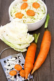 το πιάτο καρότων λάχανων συμποσίου έστρεψε μια σαλάτα εστιατορίων Στοκ Φωτογραφίες