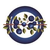 Το πιάτο με τον κλάδο βακκινίων και βγάζει φύλλα ελεύθερη απεικόνιση δικαιώματος
