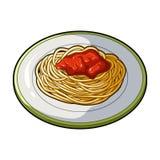 Το πιάτο στο οποίο μακαρόνια σίτου με την κόκκινη σάλτσα Χορτοφάγος κύριων πιάτων Χορτοφάγο ενιαίο εικονίδιο πιάτων στο ύφος κινο Στοκ Εικόνες