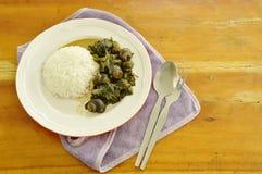Το πικάντικο σαλιγκάρι ποταμών και το ινδικό κόκκινο κάρρυ μουριών τρώνε το ζεύγος με το ρύζι στοκ εικόνα