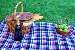 Το πικ-νίκ παρακωλύει το καλάθι, μπουκάλι κρασιού CHAMPAGNE, φρούτα στο κενό Στοκ Φωτογραφίες