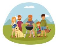 Το πικ-νίκ που θέτει με τα φρέσκα τρόφιμα παρακωλύει το στηργμένος κήπο μεσημεριανού γεύματος οικογενειακών ανθρώπων ζευγών σχαρώ Στοκ Εικόνες