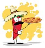Το πιπέρι της Χιλής σομπρέρο κρατά ψηλά την καυτή πίτσα διανυσματική απεικόνιση