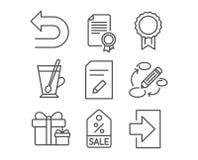 Το πιστοποιητικό, ανταμοιβή και εκδίδει τα εικονίδια εγγράφων Οι λέξεις κλειδιά, ανατρέπουν και εκπλήσσουν τα σημάδια συσκευασίας Στοκ Φωτογραφία