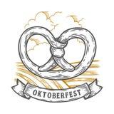 το πιό oktoberfesτο pretzel Ευτυχές πιό oktoberfest μαύρο χαραγμένο τρύγος συρμένο χέρι διάνυσμα ελεύθερη απεικόνιση δικαιώματος