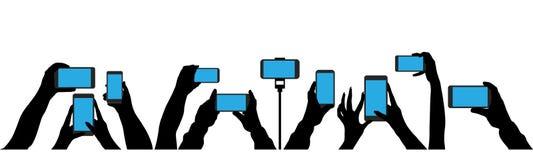 Το πλήθος των ανθρώπων πυροβολεί το γεγονός σε ένα smartphone διανυσματική απεικόνιση