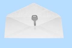 Το πλήκτρο στο ανοικτό ταχυδρομείο τυλίγει. Στοκ Φωτογραφία