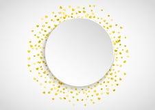 Το πλαίσιο εγγράφου βαλεντίνων με το χρυσό ακτινοβολεί καρδιές 14 Φεβρουαρίου ημέρα Διανυσματικό κομφετί για το πλαίσιο εγγράφου  Στοκ Εικόνες