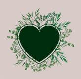Το πλαίσιο καρδιών με τη δάφνη βγάζει φύλλα απεικόνιση αποθεμάτων