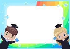 Το πλαίσιο με ένα κορίτσι και ένα αγόρι βαθμολογεί στις εσθήτες και τα καπέλα βαθμολόγησης απεικόνιση αποθεμάτων