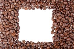 Το πλαίσιο των ψημένων φασολιών καφέ που απομονώνεται στο λευκό μπορεί να χρησιμοποιήσει ως backg Στοκ Εικόνες