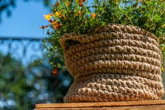 Το πλεκτό καλάθι σχοινιών γιούτας με τα μικρά κίτρινα λουλούδια μένει στο ξύλινο πιάτο στο υπόβαθρο μπλε ουρανού στοκ εικόνες