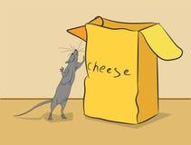 Το ποντίκι αναρριχείται σε ένα κιβώτιο του τυριού διανυσματική απεικόνιση