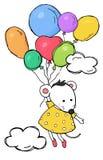 Χαριτωμένη κάρτα με ένα ποντίκι σε ένα κίτρινο φόρεμα Το ποντίκι πετά στα χρωματισμένα μπαλόνια μεταξύ των σύννεφων διανυσματική απεικόνιση
