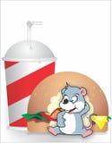 Το ποντίκι τρώει burger Στοκ Εικόνες