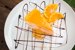 Το πορτοκάλι Crepe το κέικ Στοκ Εικόνες