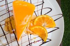 Το πορτοκάλι Crepe το κέικ Στοκ εικόνα με δικαίωμα ελεύθερης χρήσης