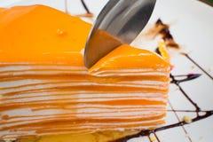 Το πορτοκάλι Crepe το κέικ Στοκ Φωτογραφίες