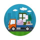 Το πορτοκαλί φορτηγό μεταφέρει τα έπιπλα διανυσματική απεικόνιση