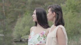 Το πορτρέτο δύο γοητευτικές νέες γυναίκες φορά τα θερινά φορέματα που στέκονται στην κορυφή του βράχου και που εξετάζουν την κατα φιλμ μικρού μήκους