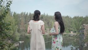 Το πορτρέτο δύο γοητευτικές νέες γυναίκες φορά τα θερινά φορέματα που στέκονται στην κορυφή του βράχου και που εξετάζουν την κατα απόθεμα βίντεο