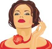 Το πορτρέτο ενός όμορφου brunette με το κόκκινο αυξήθηκε στο λαιμό της Στοκ φωτογραφία με δικαίωμα ελεύθερης χρήσης