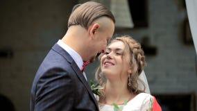 Το πορτρέτο ευτυχούς το ζεύγος στην αγάπη τρυφερότητας απόθεμα βίντεο
