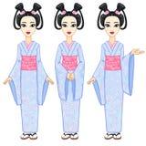 Το πορτρέτο ζωτικότητας το όμορφο ιαπωνικό κορίτσι σε τρία διαφορετικά θέτει Γκέισα, maiko, πριγκήπισσα πλήρης αύξηση διανυσματική απεικόνιση