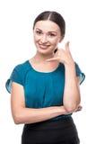 Το πορτρέτο μιας παρουσίασης επιχειρησιακών γυναικών με καλεί σημάδι Στοκ Εικόνες