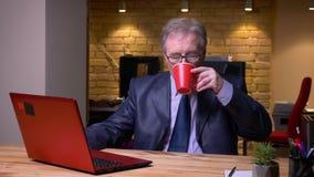 Το πορτρέτο του ανώτερου ατόμου στο επίσημο κοστούμι που λειτουργεί με το lap-top πίνει τον καφέ που ικανοποιεί και που χαλαρώνου απόθεμα βίντεο