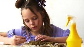 Το πορτρέτο του κοριτσιού παιδιών διαμορφώνει τα παιχνίδια από τον άργιλο απόθεμα βίντεο