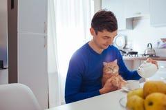 Το πορτρέτο του όμορφου νεαρού άνδρα χύνει το τσάι με τη γάτα στην κουζίνα στοκ εικόνα