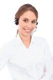 Το πορτρέτο των χαμογελώντας εύθυμων νεολαιών υποστηρίζει τον τηλεφωνικό χειριστή στην κάσκα, που απομονώνεται πέρα από το άσπρο  Στοκ Φωτογραφίες