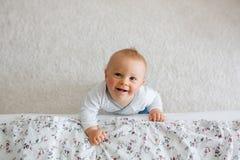Το πορτρέτο χαριτωμένου λίγο παιδί μικρών παιδιών πυροβόλησε άνωθεν, αγοράκι Στοκ Φωτογραφίες