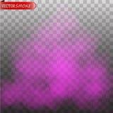 Το πορφυρό χρώμα ομίχλης ή καπνού απομόνωσε το διαφανές ειδικό εφέ ελεύθερη απεικόνιση δικαιώματος