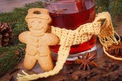 Το ποτήρι του θερμαμένου κρασιού τύλιξε το μαντίλι, το μελόψωμο, τα καρυκεύματα και τους κομψούς κλάδους Στοκ εικόνα με δικαίωμα ελεύθερης χρήσης