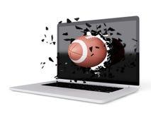 Το ποδόσφαιρο καταστρέφει το lap-top Στοκ φωτογραφία με δικαίωμα ελεύθερης χρήσης