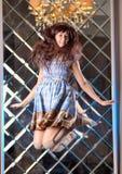 Το πολύ ευγενές όμορφο κορίτσι στο ύφος ενός anime πηδά Στοκ Φωτογραφίες