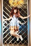 Το πολύ ευγενές όμορφο κορίτσι στο ύφος ενός anime πηδά Στοκ εικόνα με δικαίωμα ελεύθερης χρήσης