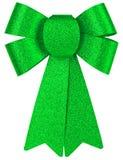 Το πράσινο λαμπρό τόξο δώρων με ακτινοβολεί κινηματογράφηση σε πρώτο πλάνο που απομονώνεται σε ένα άσπρο υπόβαθρο στοκ εικόνα