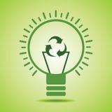 Το πράσινο ανακύκλωσης εικονίδιο κάνει την ίνα ενός βολβού eco Στοκ εικόνες με δικαίωμα ελεύθερης χρήσης