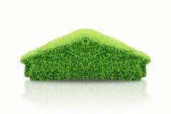 Το πράσινο δέντρο υπό μορφή σπιτιού και ο Μπους στην εγχώρια μορφή, έννοια ως υπερθέρμανση του πλανήτη, εκτός από την ημέρα περιβ Στοκ Φωτογραφίες