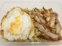 Το πράσινο κάρρυ τηγάνισε το ρύζι με το τηγανισμένο κοτόπουλο και τηγάνισε το αυγό σε ένα κιβώτιο τρόφιμα Ταϊλανδός στοκ εικόνα με δικαίωμα ελεύθερης χρήσης