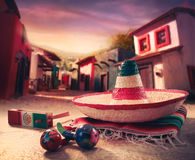 το πράσινο καπέλο απομόνωσε το μεξικάνικο σομπρέρο Στοκ εικόνα με δικαίωμα ελεύθερης χρήσης