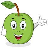 Το πράσινο μήλο φυλλομετρεί επάνω το χαρακτήρα Στοκ Φωτογραφίες
