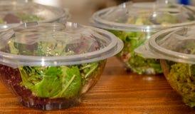 Το πράσινο μίγμα σαλάτας μέσα σε διαφανή παίρνει μαζί τις συσκευασίες κύπελλων Σπανάκι μωρών, arugula, μαρούλι, πύραυλος, romaine στοκ φωτογραφίες