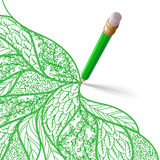 Το πράσινο μολύβι με τη γόμα σύρει ένα σχέδιο Στοκ Φωτογραφία