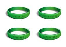 Το πράσινο πλαστικό wristband έθεσε για την ημέρα φιλίας απεικόνιση αποθεμάτων